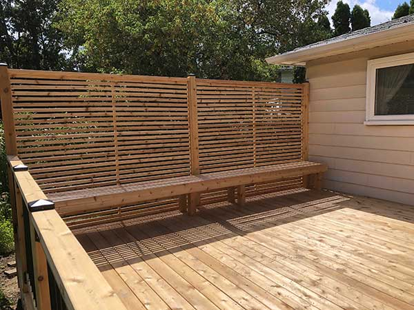 cedar deck with fence by green side up contracting