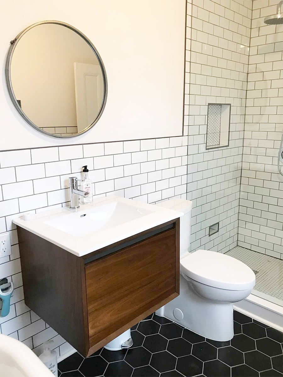 subway tiles in bathroom